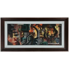 Well Executed Modern Industrialist Oil Painting Futuristic Factory Workers