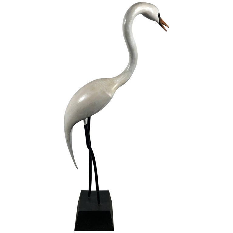 Hand Carved and Painted Snowy Egret Sculpture by Al Hibbard