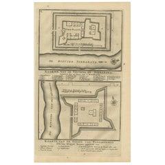 Antique Print of the Fortificatio of Surabaya and Pasuruan, Indonesia
