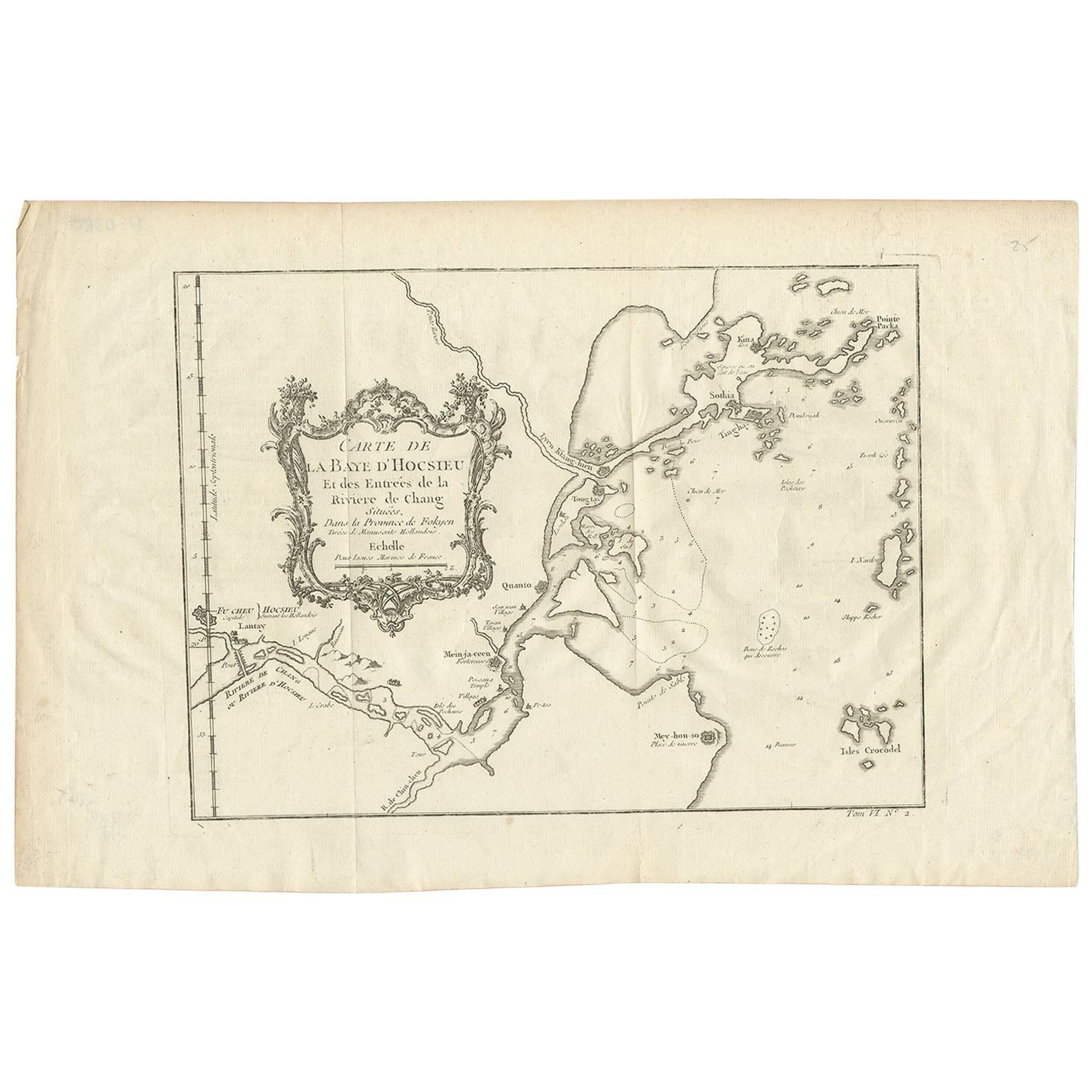 Antique Map of the Mouth of the Yangtze River 'China' by J.N. Bellin, 1764