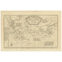 Antique Map of the Gambia River by J. Van Schley, circa 1750
