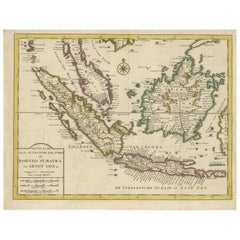 Antique Map of the Sunda Islands Including Borneo, Sumatra and Java, Indonesia