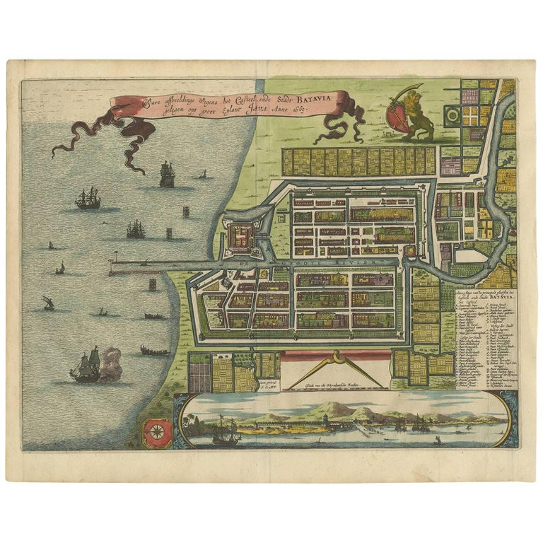 Antique Map of Batavia 'Jakarta, Indonesia' by a. Montanus, 1679 For Sale