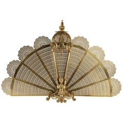 Beautiful Fire Place Fan in Gold Gilt Bronze