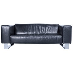 Rolf Benz Bmp Designer Sofa Leather Black Three-Seat Couch Modern Metal Chrome