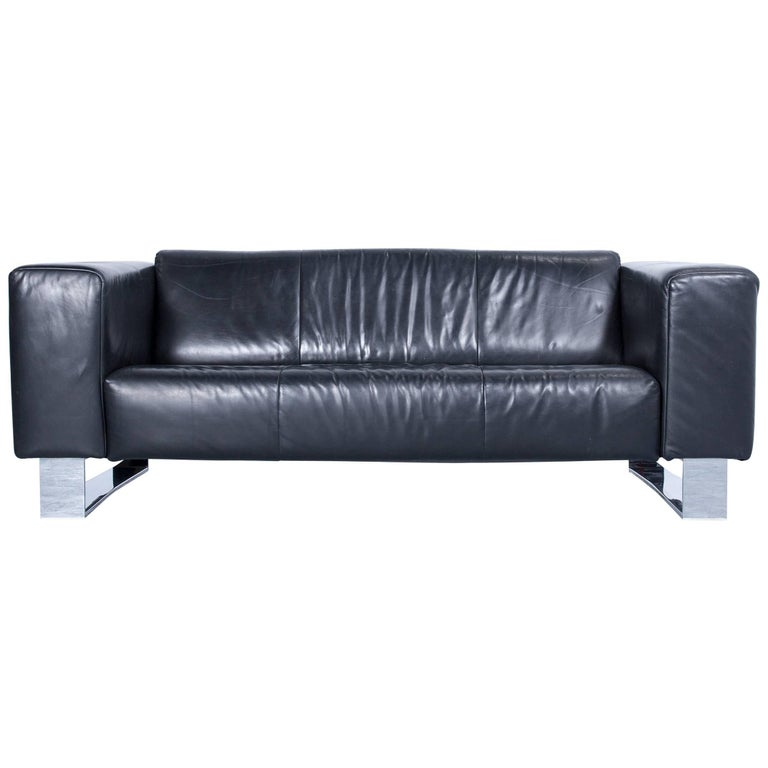 rolf benz bmp designer sofa leather black three seat couch modern metal chrome at 1stdibs. Black Bedroom Furniture Sets. Home Design Ideas