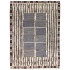 Vintage Swedish Salerno Blue Flat-Weave Carpet by Barbro Nilsson