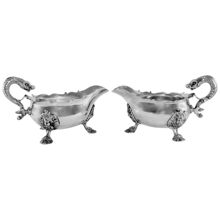 Silver Pair of Cream Jars, William Comyns & Sons Ltd, London, 1930 For Sale