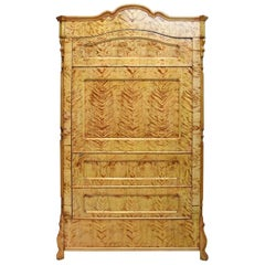 North German Single-Door Biedermeier Armoire in Fire Birch, circa 1845