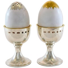 Pair of Vintage Silver and Enamel Egg Condiments by Anthony Elson, London, 2002