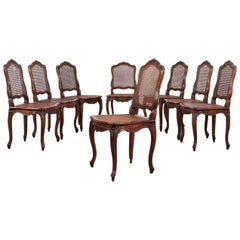 Set of Eight Early 20th Century French Fruitwood Chairs