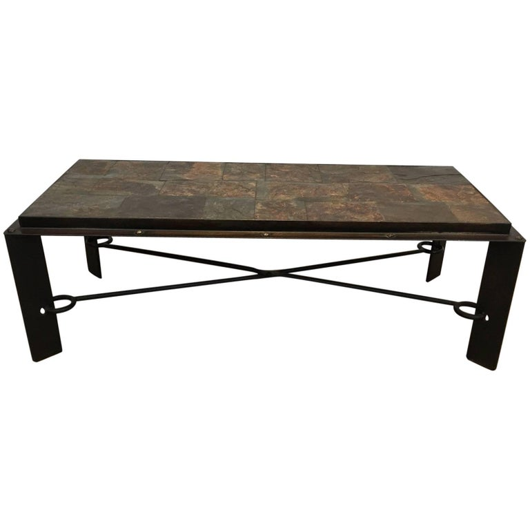 Riveted Iron Coffee Table with Slate Tiles
