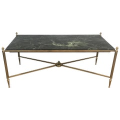 Neoclassical Style Brass Coffee Table with Marble Top by Maison Bagués