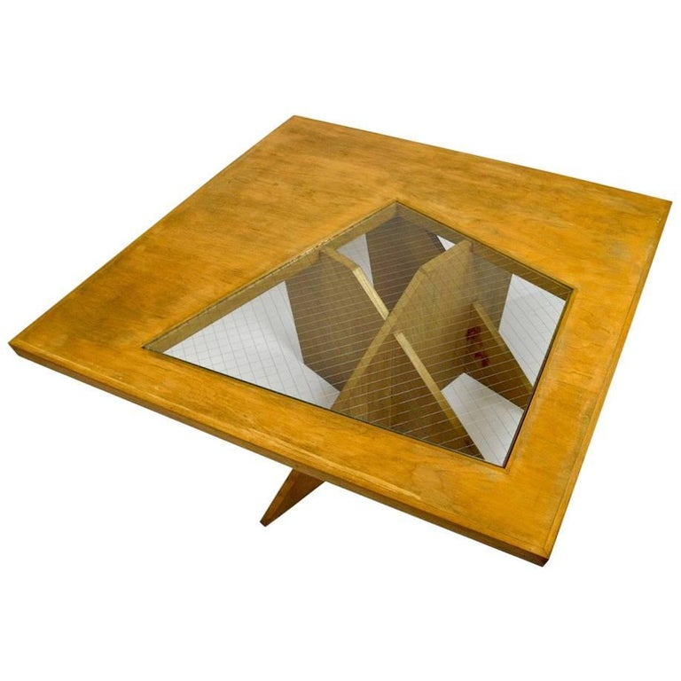 One of a Kind Birch and Glass Coffee Table For Sale