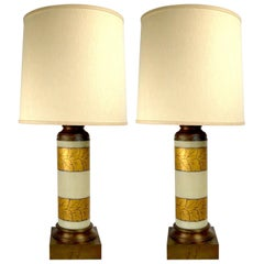Pair of Gold Decorated Glass Table Lamps