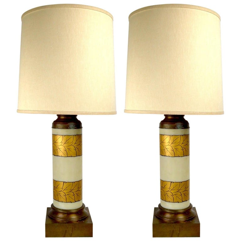 Pair of Gold Decorated Glass Table Lamps 1
