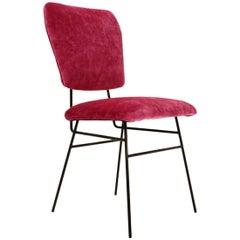 Italian Pink Velvet Chair, 1950s