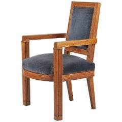 French 1940s Carved Oak Armchair by Charles Dudouyt