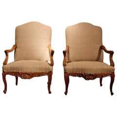 Pair of French Walnut Armchairs, circa 1900