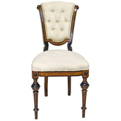 19th Century Walnut Side Chair with Ebonized Bandings, Upholstered Seat and Back