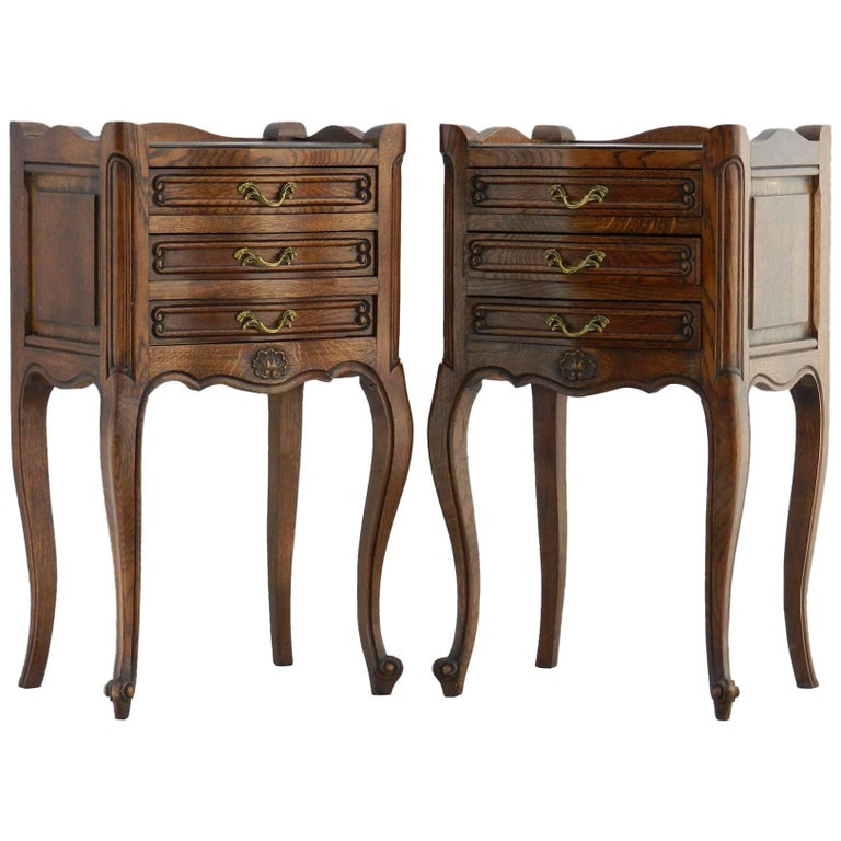 Pair of Nightstands French Side Cabinets, Early 20th Century