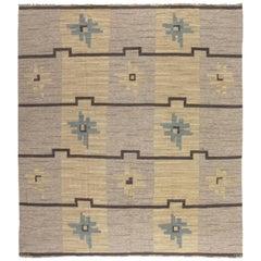 Vintage Swedish Flat-Weave Rug by Sodra Kalmar