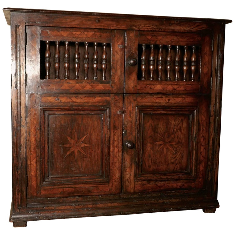 Late 18th century antique inlaid elm food cupboard bread for 18th century french cuisine