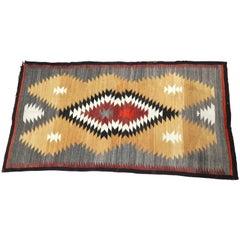 Regional Navajo Eye Dazzler Woven Rug, circa 1940s