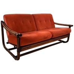 Mid-century Modern Italian Bamboo Two-Seat Lounge Sofa