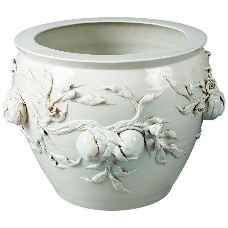 Large Chinese Porcelain Celedon Jardinière