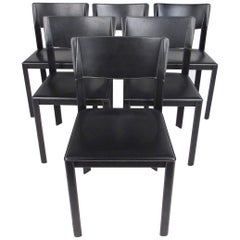 Set of Italian Modern Leather Dining Room Chairs