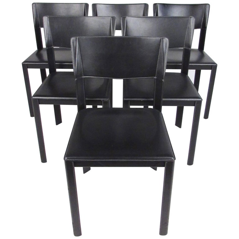 set of italian modern leather dining room chairs for sale On italian leather dining chairs modern