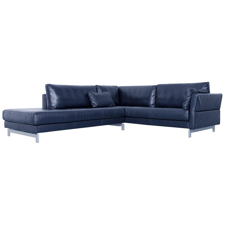 Rolf Benz Vida Designer Leather Corner Sofa Dark Blue