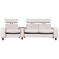 Ekornes Stressless Space Relax Sofa Beige Crème Leather TV Recliner Three-Seat