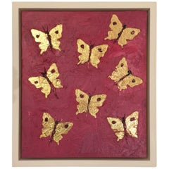 "Francisco Franco ""Eight Butterflies in Gold"" Leaf Oil Painting"