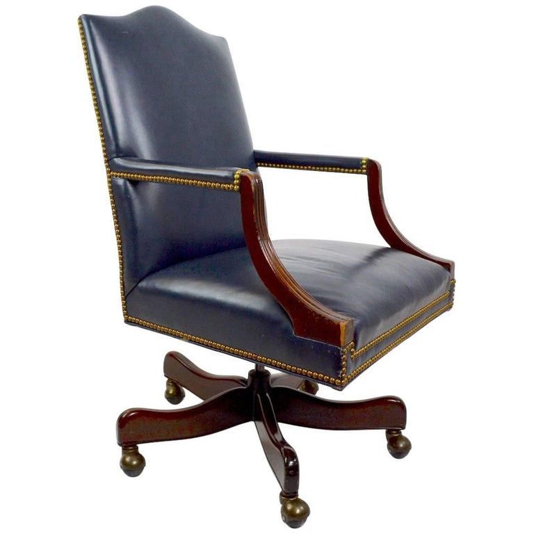 Leather Swivel Desk Chair by Hancock and Moore For Sale