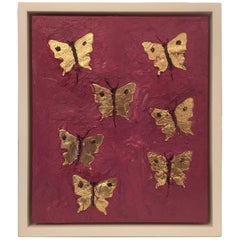 "Francisco Franco ""Seven Butterflies in Gold"" Leaf Oil Painting"