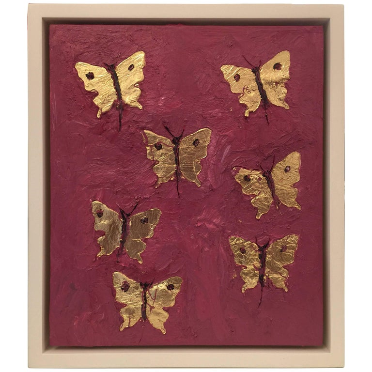 "Original Francisco Franco ""Seven Butterflies in Gold"" Painting For Sale"