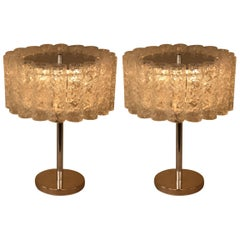 Pair of Texture Glass Table Lamps by Doria