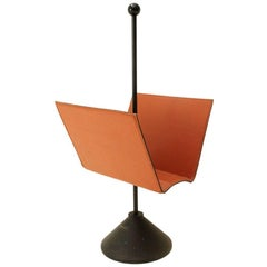 Leather Magazine Rack by Porada, 1980s