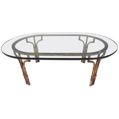 Decorator Style Faux Bamboo Oval Coffee Table
