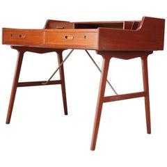 Teak and Brass 'Ladies' Desk by Arne Wahl Iversen