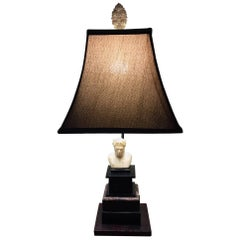 Italian Black Marble Base Lamp with a Carved Marble Bust, circa 1880