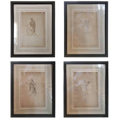 Set of Four Framed Illustrations of the Sexual System of Linnaeus, circa 1777