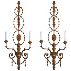 Pair of Louis XVI Carved Giltwood Two-Light Sconces, 19th Century