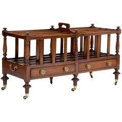 English Regency Mahogany Double Canterbury with Two Drawers