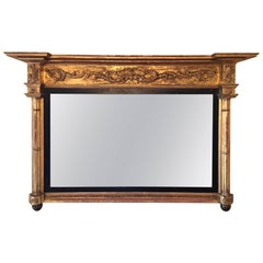 American Federal Over Mantel Mirror, Greek Roman Style, 19th Century