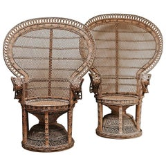 1970s Wicker Peacock Chairs