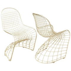 "Iconic Wire Metal ""S"" Pair of Chairs after Panton"