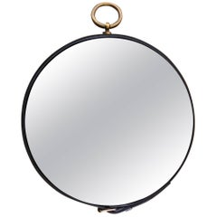Midcentury Stitched Leather Wall Mirror Attributed to Jacques Adnet, France 1950